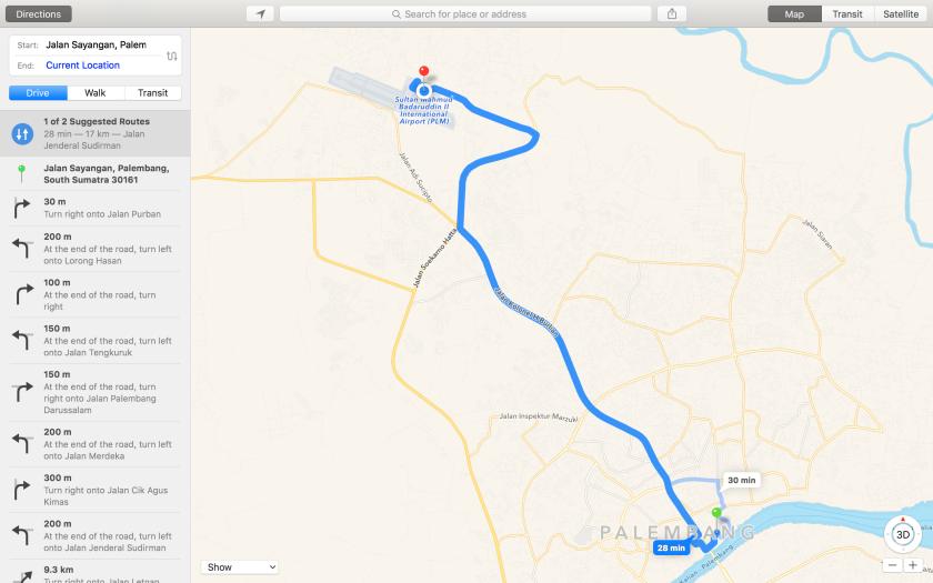 Map dari rumah ke airport
